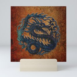 Blue Chinese Dragon on Stone Background Mini Art Print