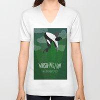 washington V-neck T-shirts featuring Washington by Santiago Uceda