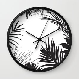 Black And White Palm Leaves Wall Clock