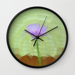 Single water lily on long stem Wall Clock