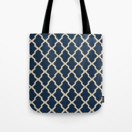 V3 Dark Blue Traditional Moroccan Pattern Texture. Tote Bag