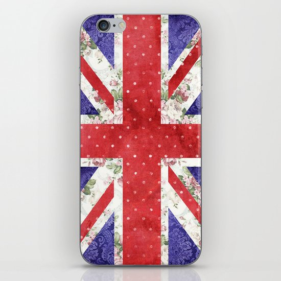 Vintage Red Polka Dots Floral UK Union Jack Flag and Blue Damask iPhone & iPod Skin