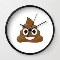 emoji Wall Clocks featuring Emoji Poo by Emojis on Mugs, Tshirts, Phone Cases & M
