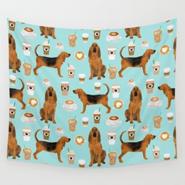 Bloodhound coffee dog pattern dog breed custom gifts for dog lovers bloodhounds Wall Tapestry