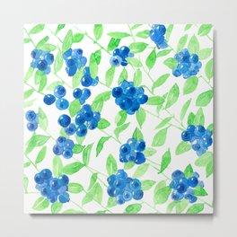 Bluberries watercolor pattern Metal Print