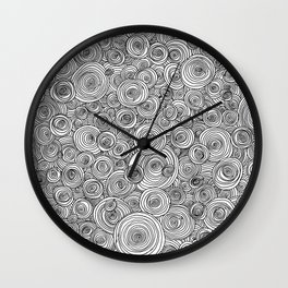 Freehand Concentric Ink Circles Wall Clock