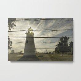 Faux Rustic Reclaimed Wood Turkey Point Lighthouse Coastal Landscape Photo Metal Print