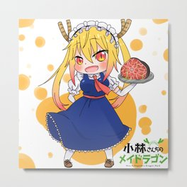 Tohru and her Tail Metal Print