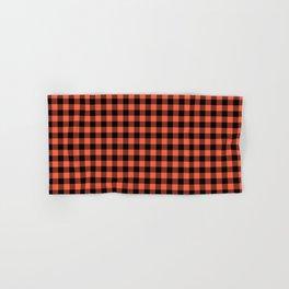 Living Coral Orange and Black Buffalo Check Plaid Hand & Bath Towel
