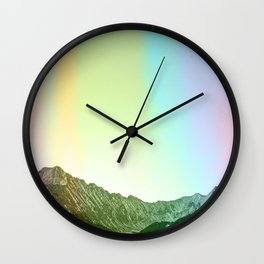 Rainbow Ridge Snow Capped Mountain Range \\ Colorado Landscape Photography \\ B&W Ski Season Art Wall Clock