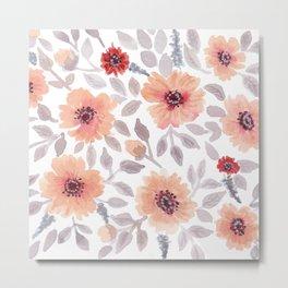 Watercolor . Salmon flowers . Metal Print