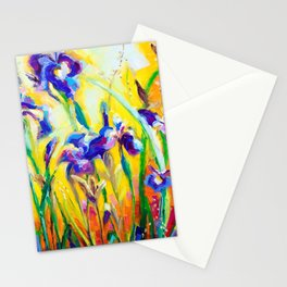 Alpha and Omega Impressionist Blue Irises Stationery Cards
