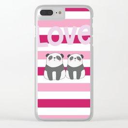 Valentine Panda Love Clear iPhone Case
