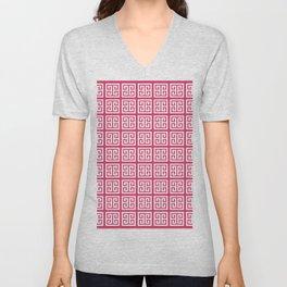 Cerise Pink Greek Key Pattern Unisex V-Neck