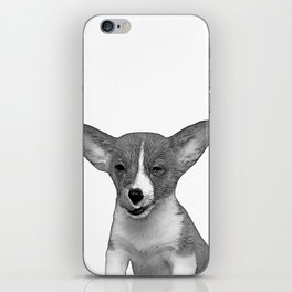 b&w winking puppy iPhone Skin