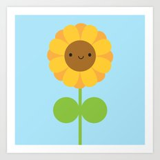 Kawaii Sunflower Art Print