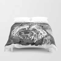 yorkie Duvet Covers featuring yorkie by Jenn Steffey