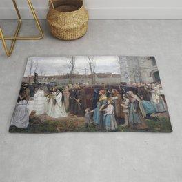 Jules Breton - Plantation d'un calvaire Rug