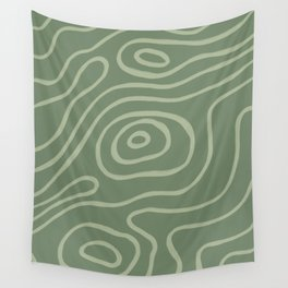 Topographic Map / Grayish Green Wall Tapestry