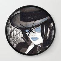 goth Wall Clocks featuring Goth Girl by Sweet Bliss Art