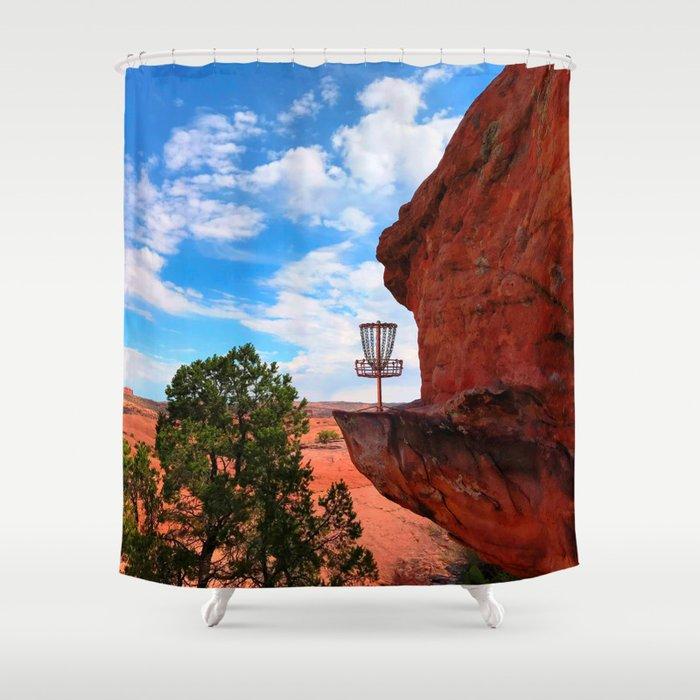 Disc Golf Basket in Moab Utah Shower Curtain
