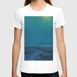 Coast of Tuscany, Italy under a Blue Moon landscape painting by Granville Redmond T-shirt