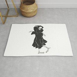 Dancing reaper - silhouette grim - skeleton cartoon - night angel Rug