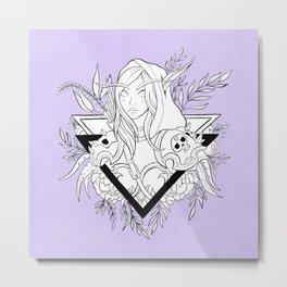 Elf Lady // Black & White Metal Print