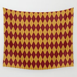 Geometric burgundy yellow orange diamond shapes stripes Wall Tapestry