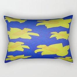 Pop Art Daffodils Blue Rectangular Pillow