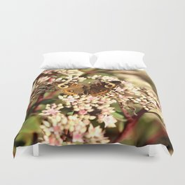 Buckeye Butterfly On Pale Pink Flowers Duvet Cover
