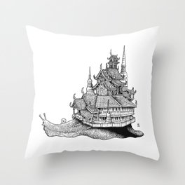 Snail Temple Throw Pillow