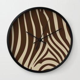 Zebra Stripes | Animal Print | Chocolate Brown and Beige | Wall Clock
