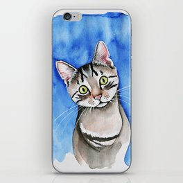 meow? // watercolor tabby cat portrait iPhone Skin