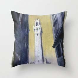 Piazza del Campo in medieval city of Siena, Italy.  Watercolor painting of Tower of Mangia Throw Pillow