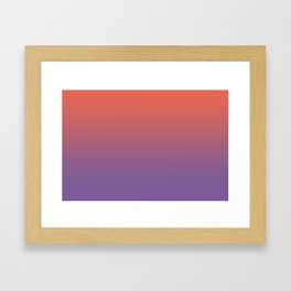 Pantone Living Coral & Chive Blossom Purple Gradient Ombre Blend, Soft Horizontal Line Framed Art Print