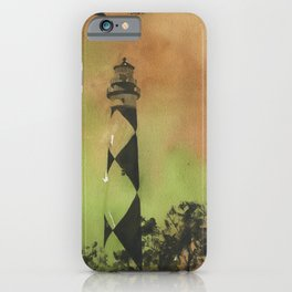 Cape Lookout lighthouse on the Outer Banks, North Carolina.  Watercolor painting of Cape Lookout lighthouse beach artwork home decor lighthouse NC lighthouse painting watercolor iPhone Case