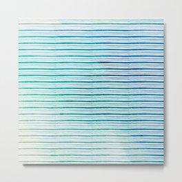 fine aqua handpainted stripes on clear white Metal Print
