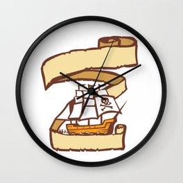 Pirate Ship Sailing Scroll Retro Wall Clock