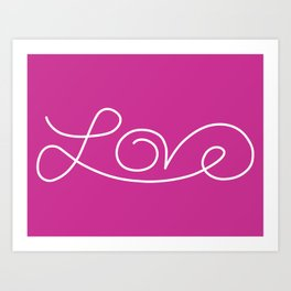 Love calligraphy print - Violet background with white Art Print