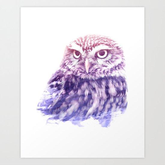 OWL SUPERIMPOSED WATERCOLOR Art Print
