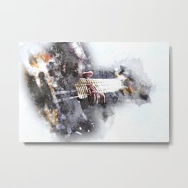 Person Playing Electric Bass Guitar in watercolor style Metal Print