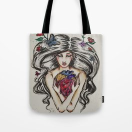 be still my beating heart anitomical love valentine tattoo brunette Tote Bag