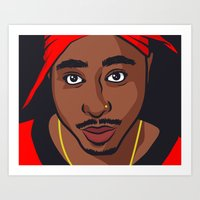 tupac Art Prints featuring Tupac by Michael Walchalk
