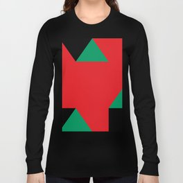 Green triangular base prisms floating in a deep red space. Long Sleeve T-shirt