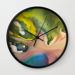 River watercolor abstraction painting Wall Clock