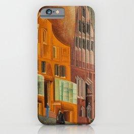 The City, Gables I, cityscape street scene painting by Lyonel Feininger iPhone Case