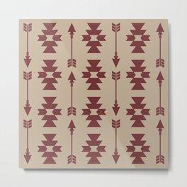 Southwestern Arrow Pattern 256 Beige and Maroon Metal Print