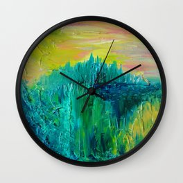 DREAM-SCAPE - Amazing Idyllic Nature Theme Pastel Dream Landscape Abstract Acrylic Painting Wall Clock