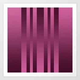 Burgundy , striped Art Print